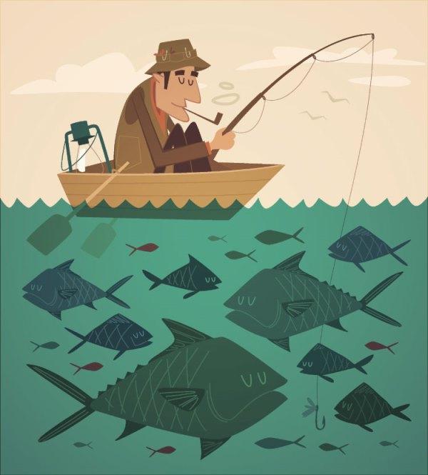 картинка рыбака с сетью для детей